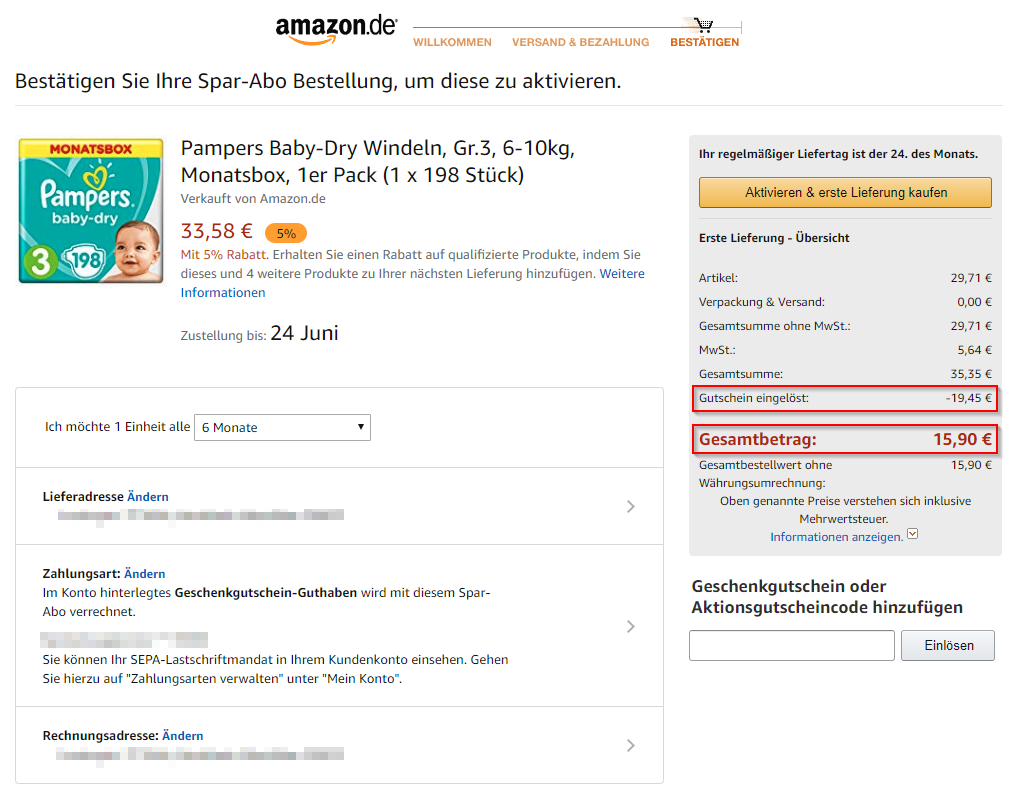 Anleitung Pampers Sparabo