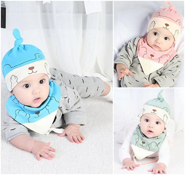 Babys mit Bärchenmützen in rosa, mintgrün und blau