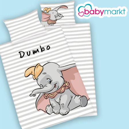 weiß grau gestreifte Kinderbettwäsche mit Dumbo-Print