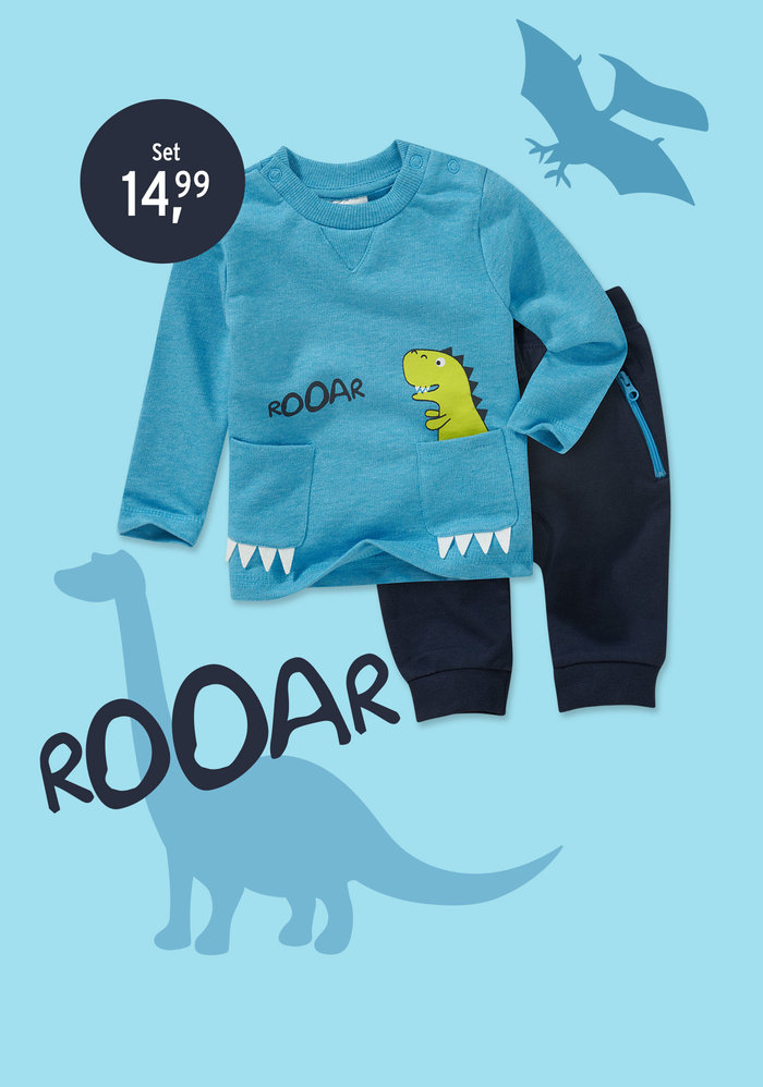Dino Outfit in blau
