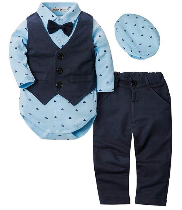 schickes Babyoutfit mit Weste und Fliege in dunkelblau
