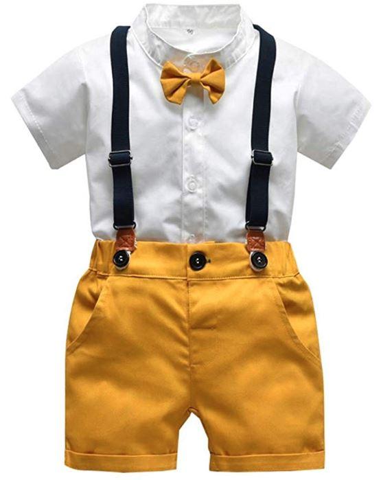 Gelbe Latzhose mit Hosenträgern und Fliege für Kleinkinder