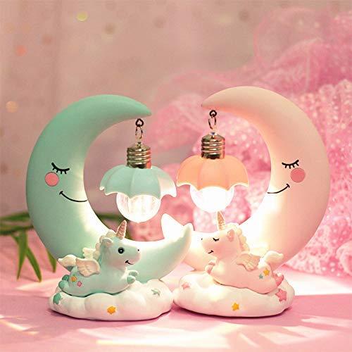 Kinder-Lampe mit Mond und Einhorn in rosa oder blau