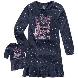 Nachthemd und Puppenkleid im Partnerlook mit Eulenmotiv