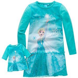 Nachthemd und Puppenkleid im Partnerlook mit Frozen-Motiv