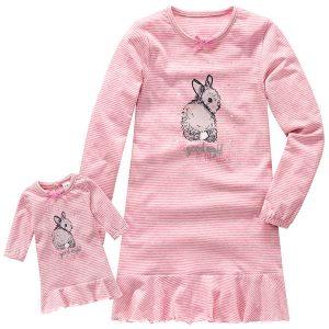 Nachthemd und Puppenkleid im Partnerlook mit Hasen-Print