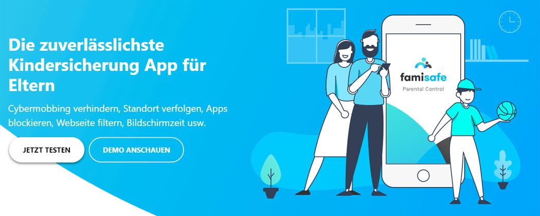 Banner: FamiSafe App – für mehr Sicherheit eurer Kinder online