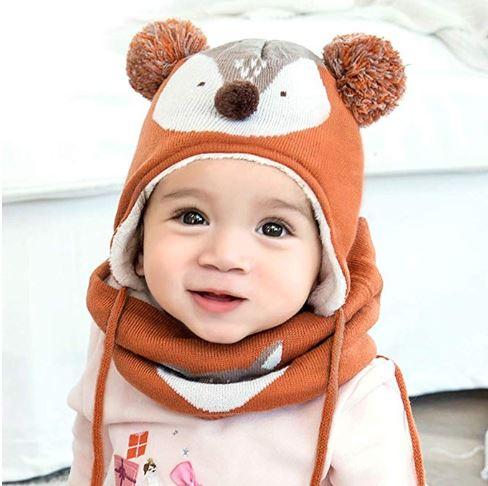 Baby-Fuchsmütze mit Schal