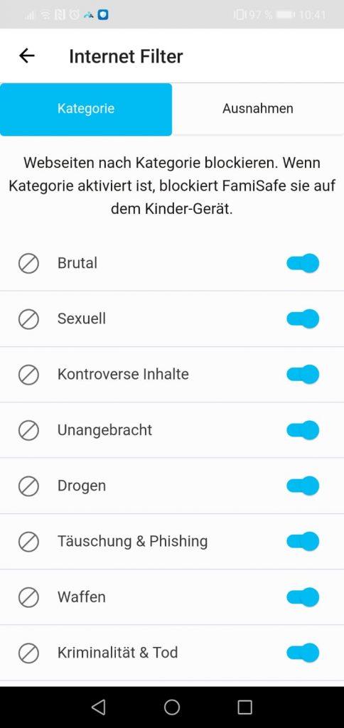 Inhalte Blockieren nach kritischen Themen App