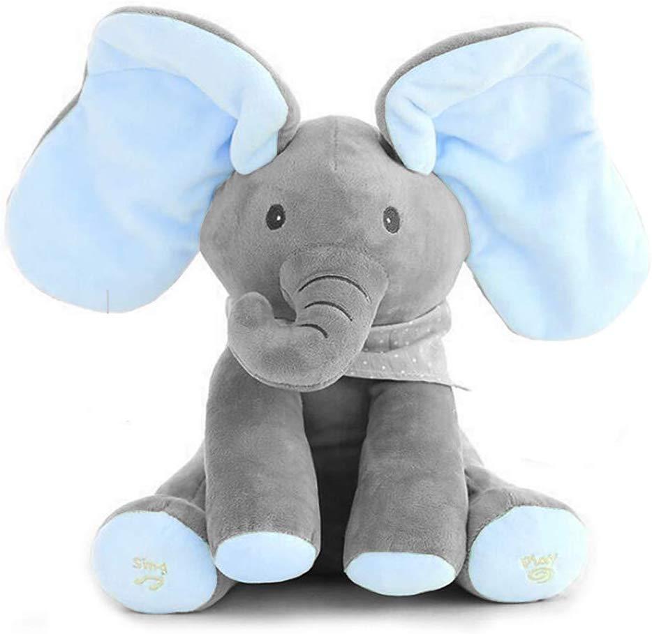 Elefant mit blauen Ohren