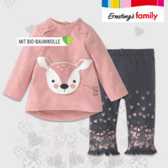 Ernsting's Family Bekleidungsset für Kinder mit Reh-Design