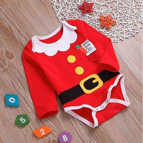 Babybody im Weihnachtsmann-Stil