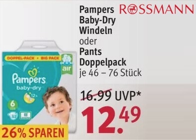 Pampers baby dry Rossmann angebot