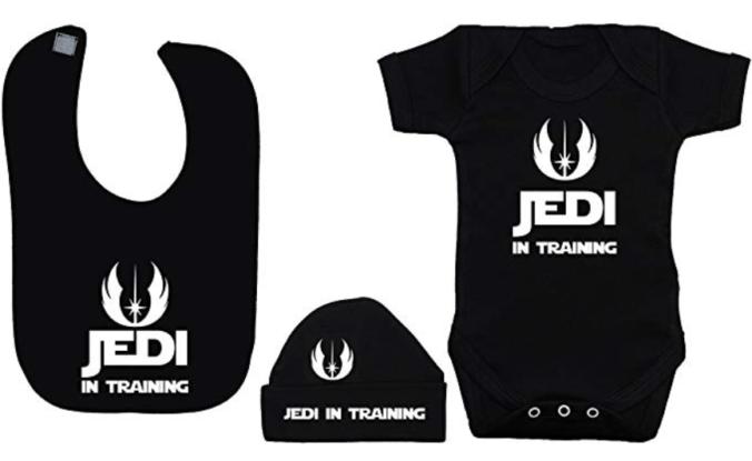 Babybody, Mütze und Lätzchen mit Aufdruck Jedi in Training