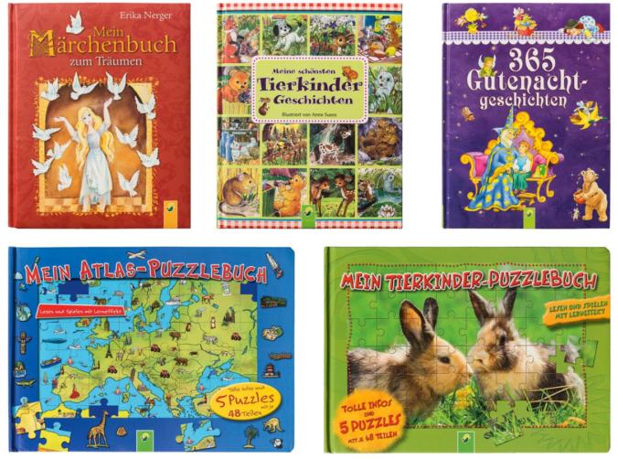 Verschiedene Bücher und Puzzle