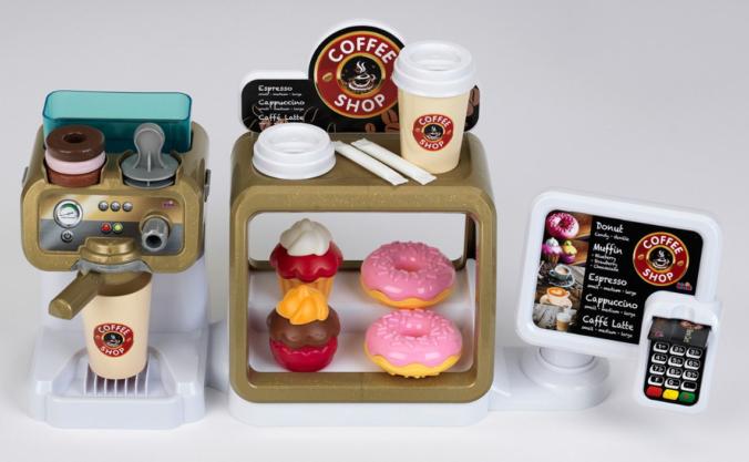 Kaffeemaschine und Donuts