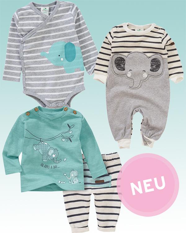 Babymode mit Elefanten-Prints