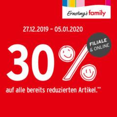 30% Rabatt bei Ernsting's Family Banner