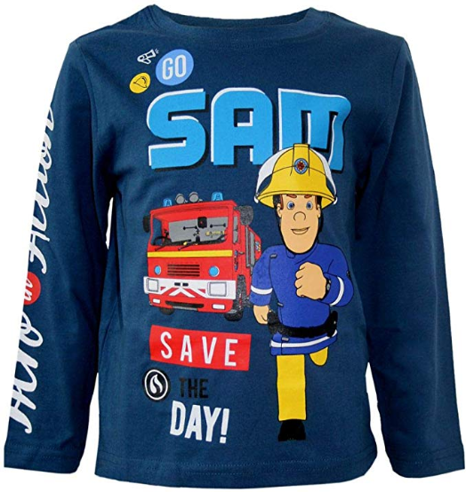 blaues Langarmshirt mit Feuerwehrmann Sam Aufrduck