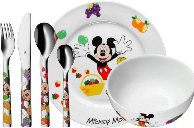 Geschirr inkl. Besteck im Micky Mouse Design für Kinder