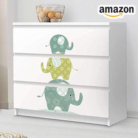 Ikea Kommode mit Elefantenstickern