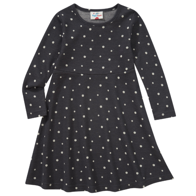Schwarzes Kleid mit weißen Pünktchen für Mädchen