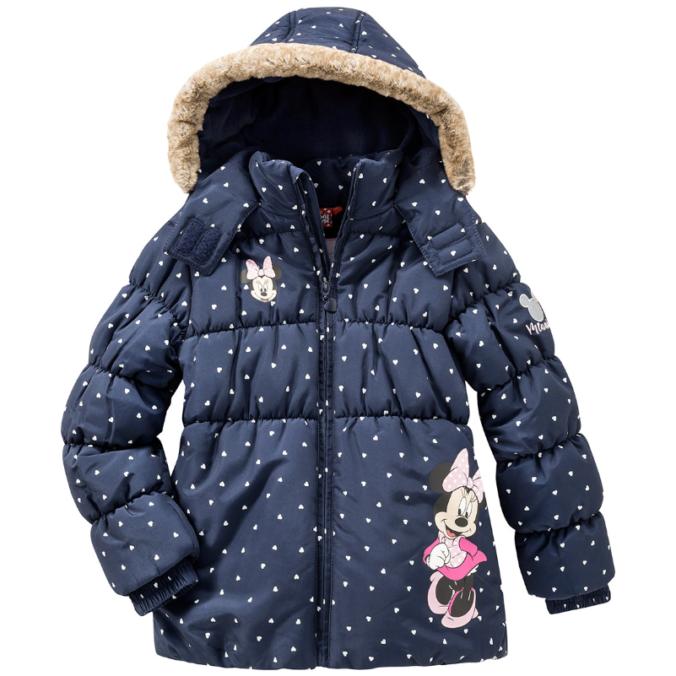 Blaue Winterjacke mit Minnie Mouse Motiv für Mädchen