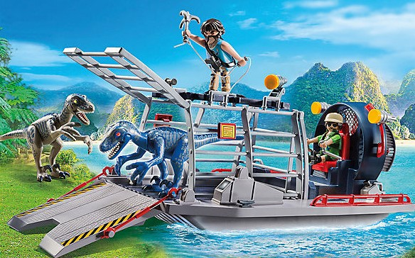 Playmobil Set Propellerboot mit Dinokäfig