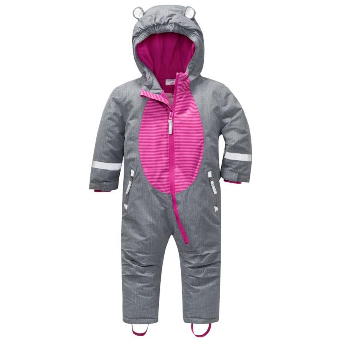 Grau-pinker Schneeanzug für Mädchen