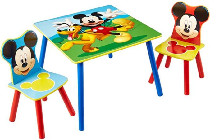 Kindertisch mit zwei Stühlen im Micky Mouse Design