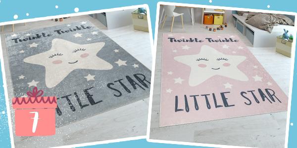 grauer und rosa Teppich mit Stern-Motiv für Kinder