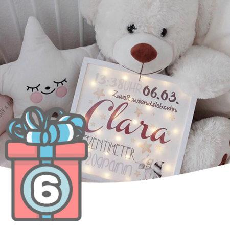 Adventskalender Türchen 6 personalisierter Leuchtrahmen