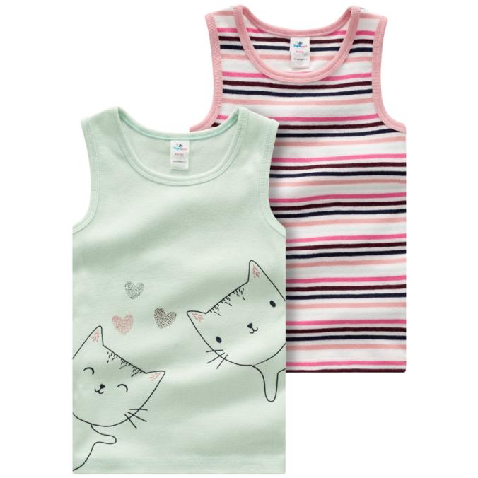 Unterhemden für Mädchen mit Streifen und Katzen