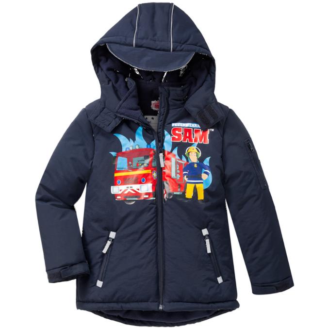 blaue Winterjacke mit Feuerwehrmann Sam Aufdruck für Jungen