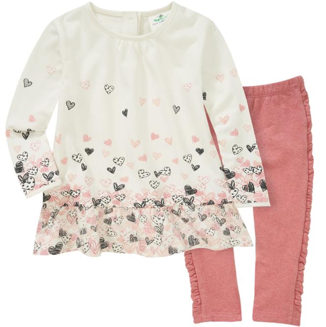 2-teiliges Outfit mit Herzchen Print für Mädchen