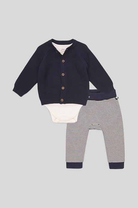 3-teiliges Baby-Outfit mit lauer Strickjacke