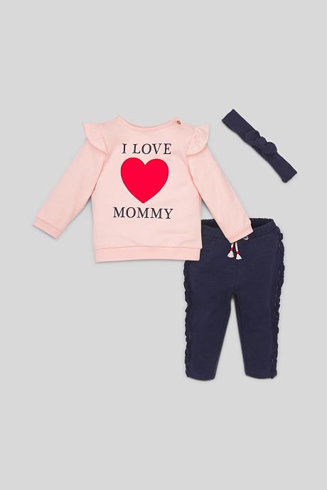 3-teiliges Outgit für Mädchen mit I love Mommy Print