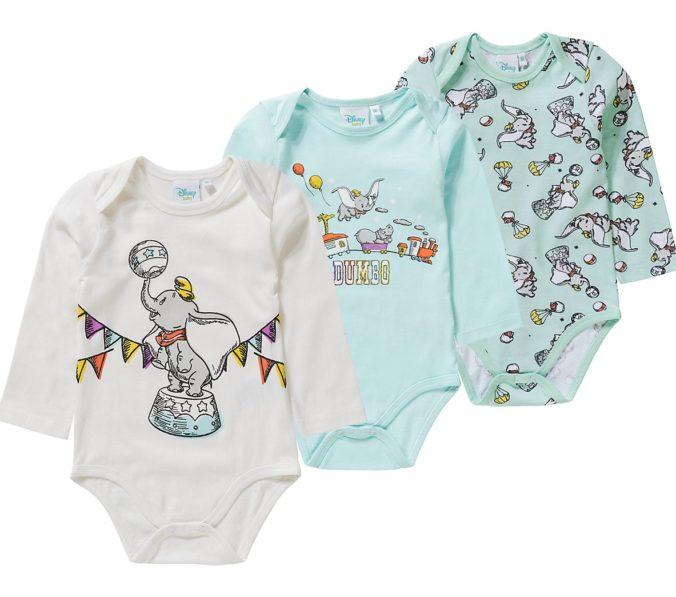 3-er Set Babybodies mit Dumbo Print