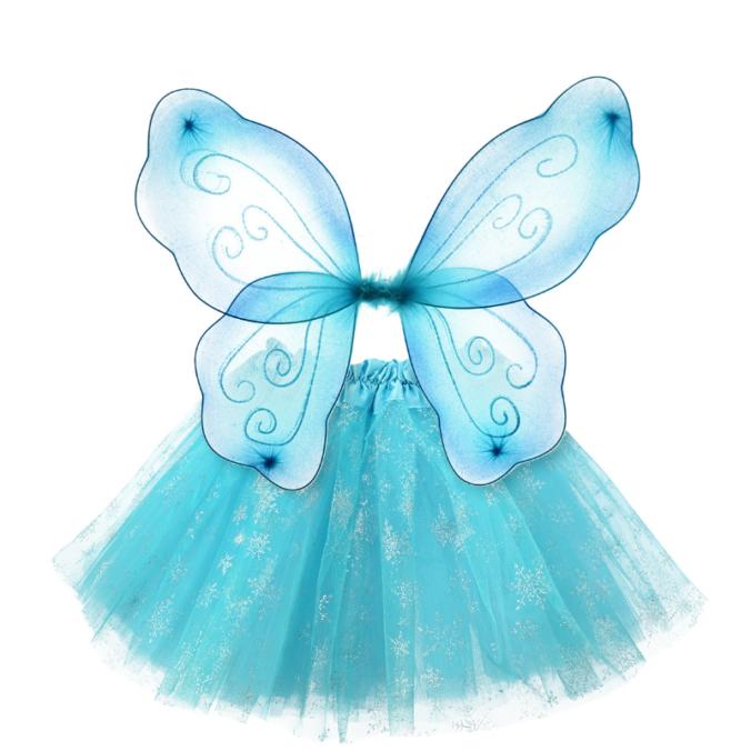 Kinderkostüm Eiskristall mit Flügeln