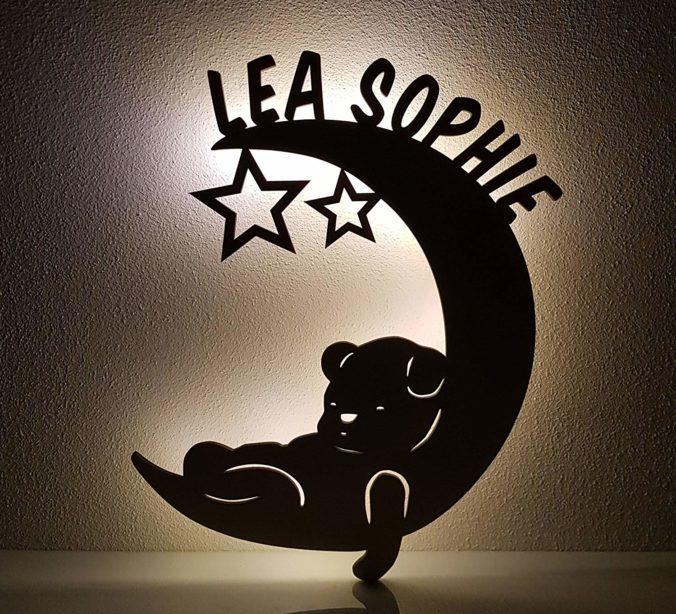 Personalisertes Nachtlicht Halbmond mit Teddybär