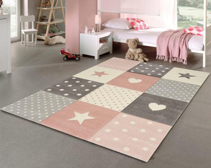 Kinderzimmerteppich mit Sternchen-Design