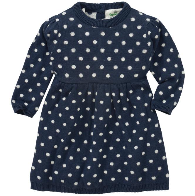 Blaues Strickkleid mit weißen Punkten für Mädchen