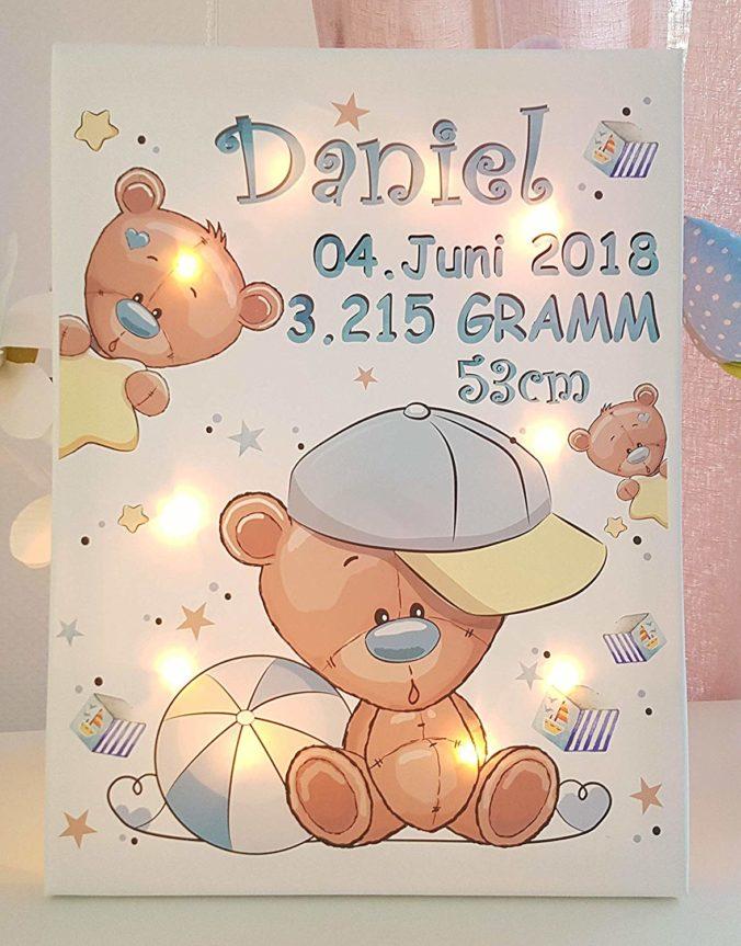 Personalisiertes Leuchtbild mit Teddy Motiv