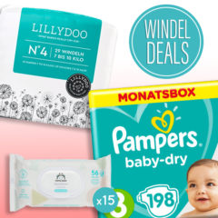 Verschiedene Windeln und Feuchttücher von Pampers, Lillydoo und Amazon