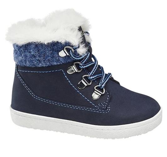 Blauer Stiefel mit Plüschfell für Jungen