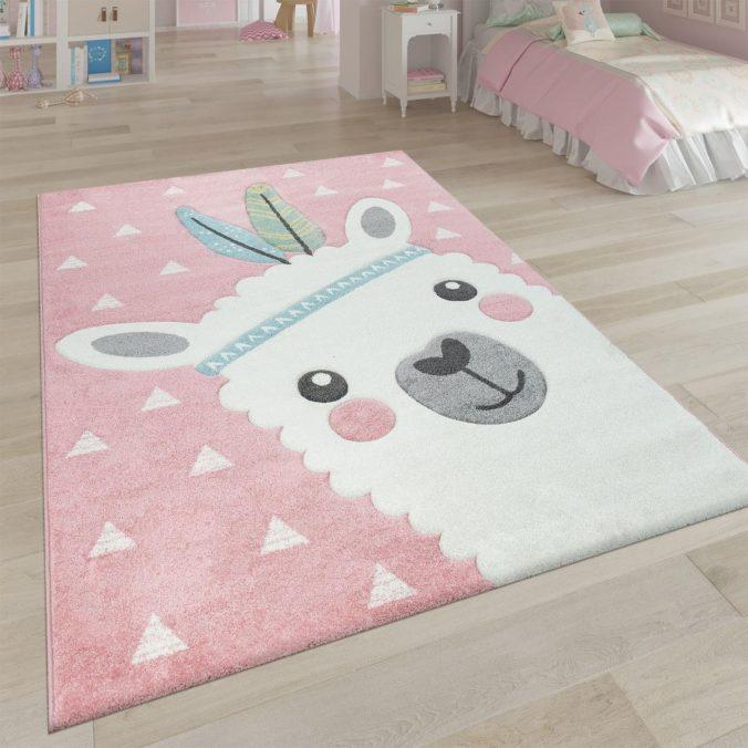 Kinderzimmerteppich mit Lama Design