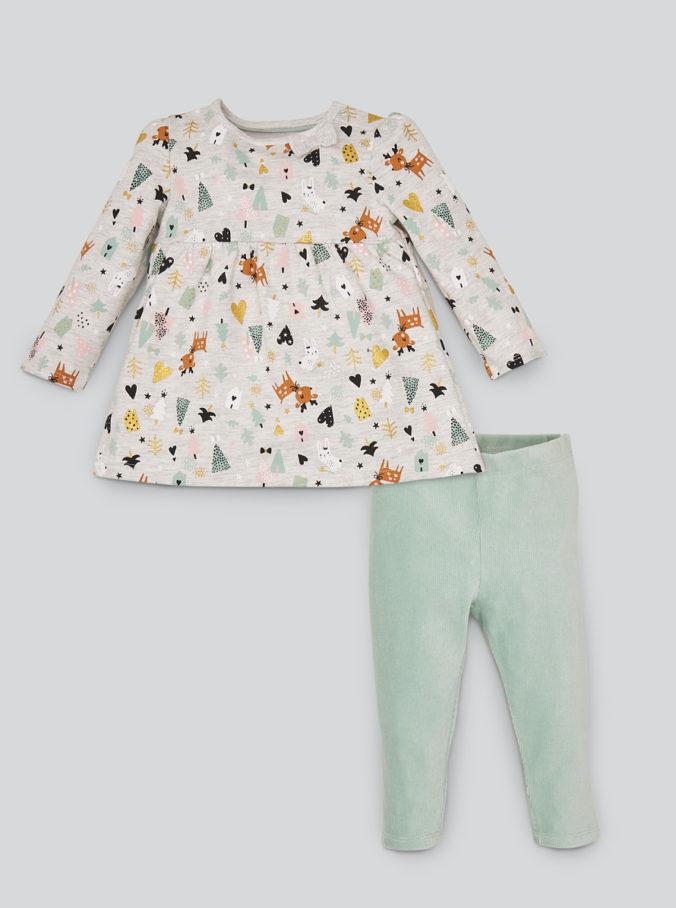 2-Teiliges Mädchen-Outfit mit Tier-Print