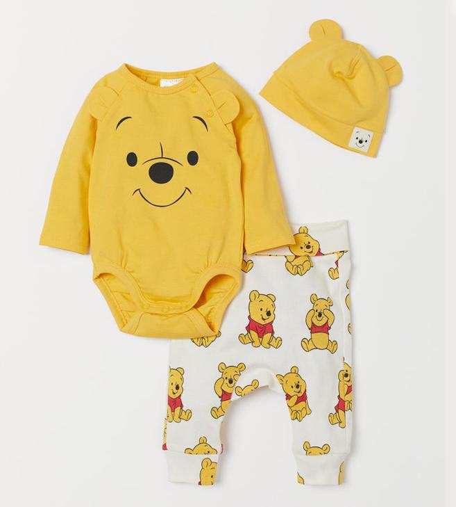 3er Set Babykleidung mit Winnie Puuh Print