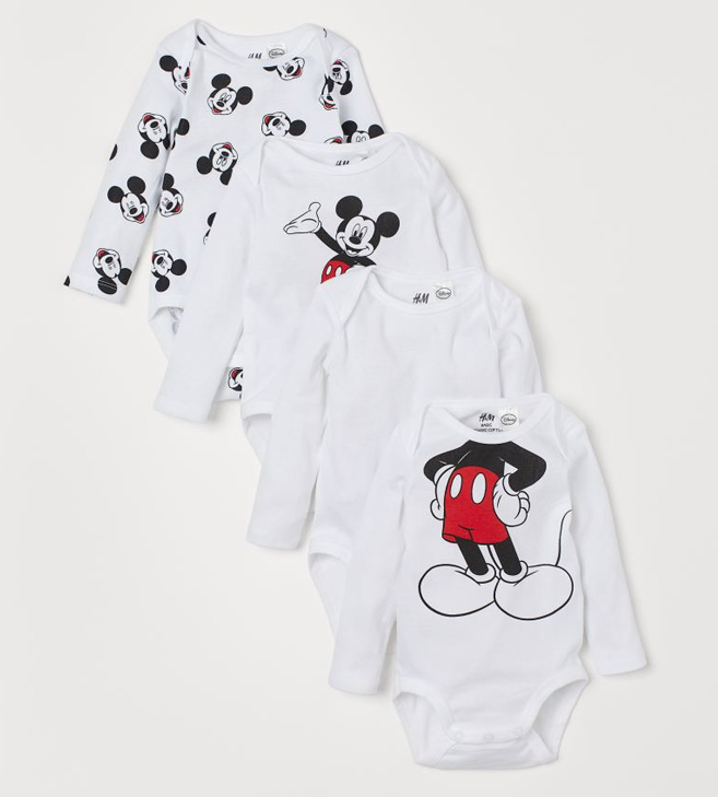 4er Pack Babybodies mit Mickey Mouse Print