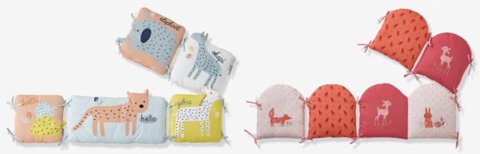 Zwei Bettumrandungen mit Tiermotiven für Kinderbetten